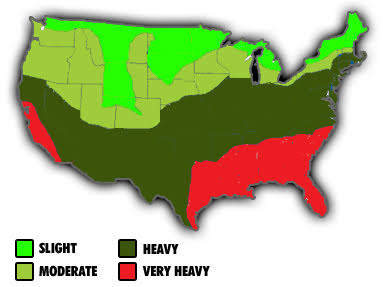 USA map showing termite infestation levels
